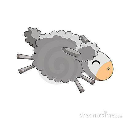 Jumping sheep on white background
