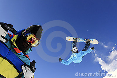 Jumping Snowboarders
