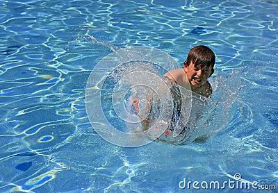Jumping, splashing in a pool