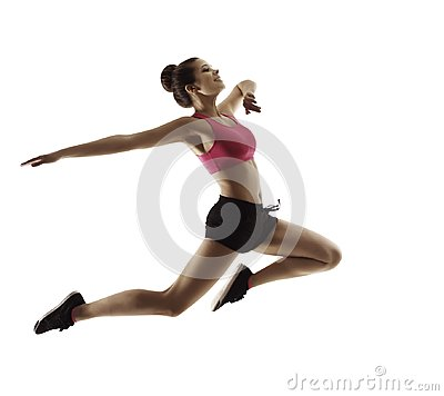 Free Jumping  Sport Woman, Happy Fitness Girl In Jump, Active People Stock Image - 110200571