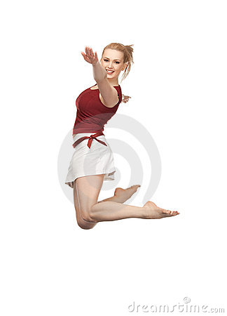 Jumping sporty girl