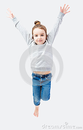 Free Jumping Sporty Little Girl Stock Photos - 65511413