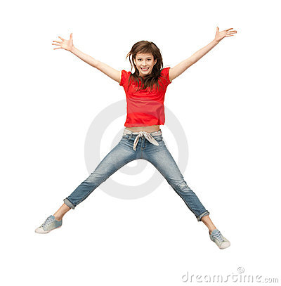 Jumping teenage girl
