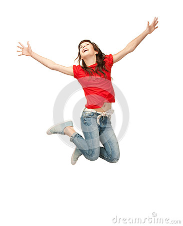 Jumping teenage girl Stock Photo