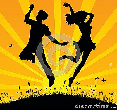 Jumping teens