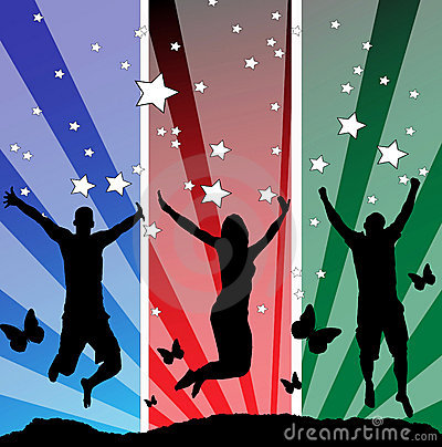 Jumping teens vector illustration