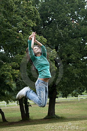 Jumping to catch a frisbee