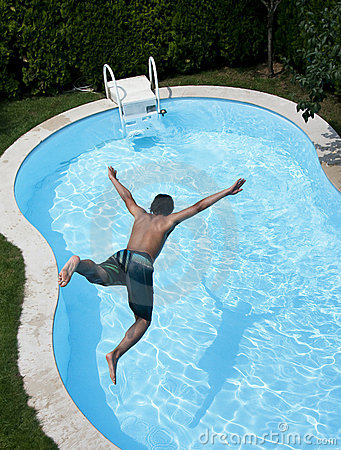 Free Jumping To Pool Stock Photography - 15400112
