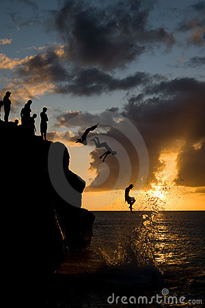 Jumping in Waimea Bay