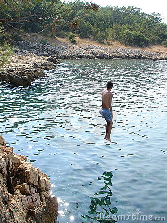 Jumping in water