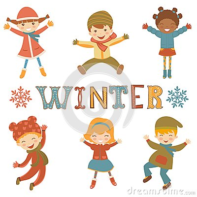 Jumping winter kids