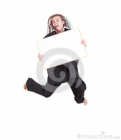 Jumping woman with african hairdo and blank sign