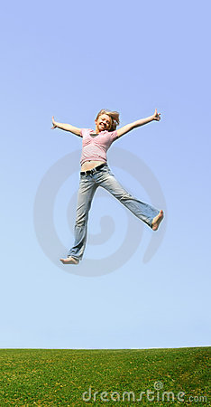 jumping woman outdoor