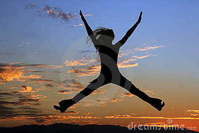 Jumping woman silhouette