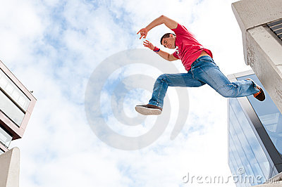 Jumping young man