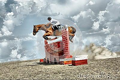 Jumps horse