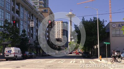Junction of Bell Street and Sixth Avenue towards The Space Needle, Seattle, Washington, USA stock footage