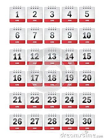 June Calendar Icons