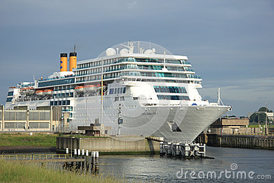 June 13rd, 2014. IJmuiden: Costa Neo Romantica leaving dock on j Editorial Stock Photo