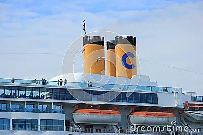 June 13rd, 2014. Velsen: Costa Neo Romantica close up of cabins Editorial Stock Photo