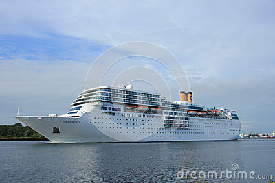 June 13rd, 2014. Velsen: Costa Neo Romantica on North Sea Canal Editorial Stock Image