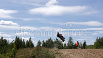 June 10, 2018 Russian Federation, Bryansk region, Ivot - Extreme sports, cross motocross. The motorcyclist enters the. Turn on the race track. Dirt is flying stock video