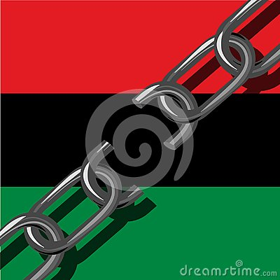 Free Juneteenth, Freedom Day. African-American Independence Day, June 19. Broken Chain. Background - Pan-African Flag, UNIA Stock Images - 117282804