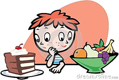 Junge, der was entscheidet zu essen