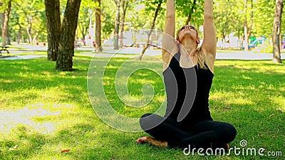 Junge Frau des breiten Schusses, die Yoga im Park tut stock video footage