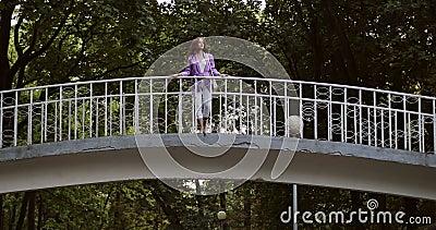 Junge Frau mit lockig langen roten Haaren geht im Sommerpark auf einer weißen Brücke spazieren stock video footage