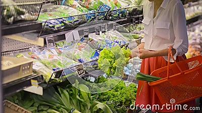 Junge Kaukasierinnen kaufen grünen Salat im Bio-Shop stock video footage