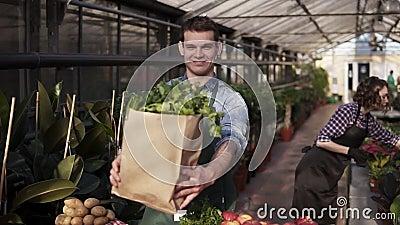 Junge, kaukasische Großmutter in Vorhut mit brauner Papiertüte mit frischem Gemüse und Grün, lächelnd lachen während stock video
