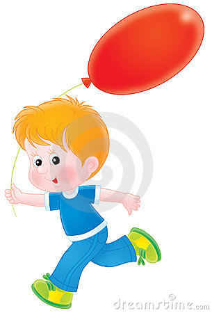 Junge mit einem roten Ballon