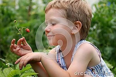 Junge mit Erdbeeren
