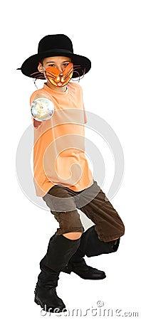 Junge mit Katzeschablone