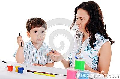 Junge Mutter und Sohn