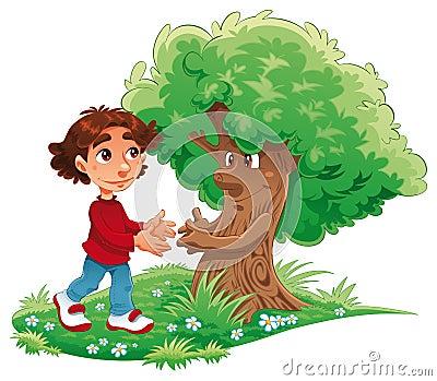 Junge und Baum