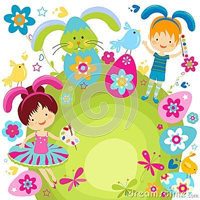 Junge und Mädchen, die Ostern feiern