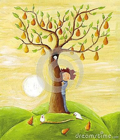 Jungen- und Birnenbaum