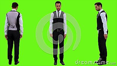 Junger Geschäftsmann beugt schnell höflich auf einem grünen Schirmhintergrund Geschlungene Animation 4K vektor abbildung