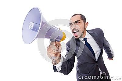 Junger Geschäftsmann mit Lautsprecher