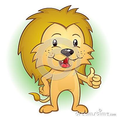 Junges Löwecub-Zeichen, das Daumen aufgibt