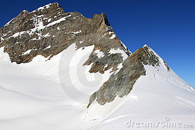 Jungfrau mountain in Switzerland covered with snow