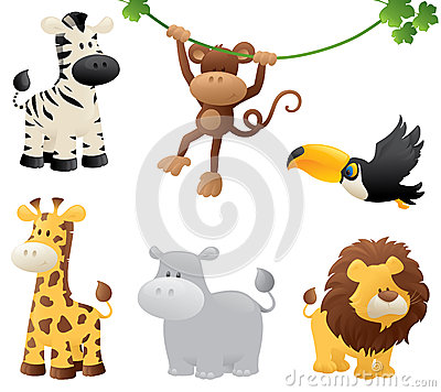 Jungle Animals Vector Illustration