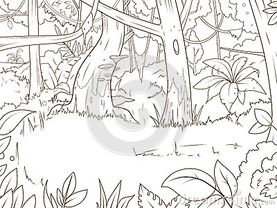 Jungle forest cartoon coloring book vector stock vector for Where the red fern grows coloring pages