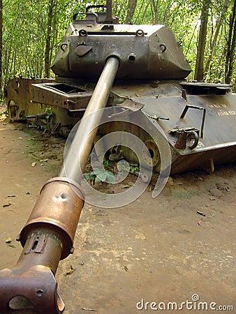 Jungle war destroyed american tank vietnam