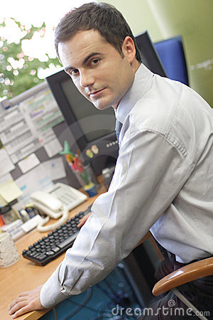 Free Junior Executive Working On Pc Royalty Free Stock Image - 1644906