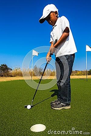 Free Junior Golf Putting Royalty Free Stock Image - 34923716