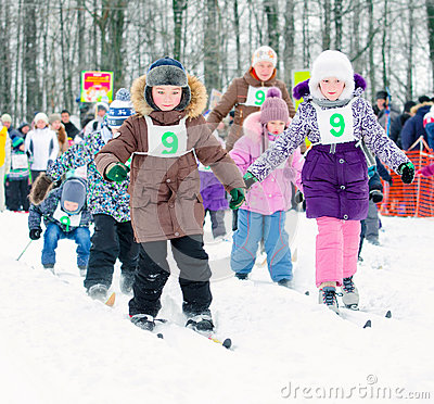 Free Junior High School Students To Compete In Skiing. Ski Russia Stock Photo - 66367140