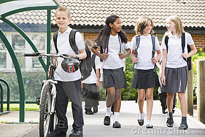Junior school children leaving school